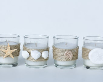 Set of 4 Votive Candles Beach Wedding Seashell Starfish Sand Dollar