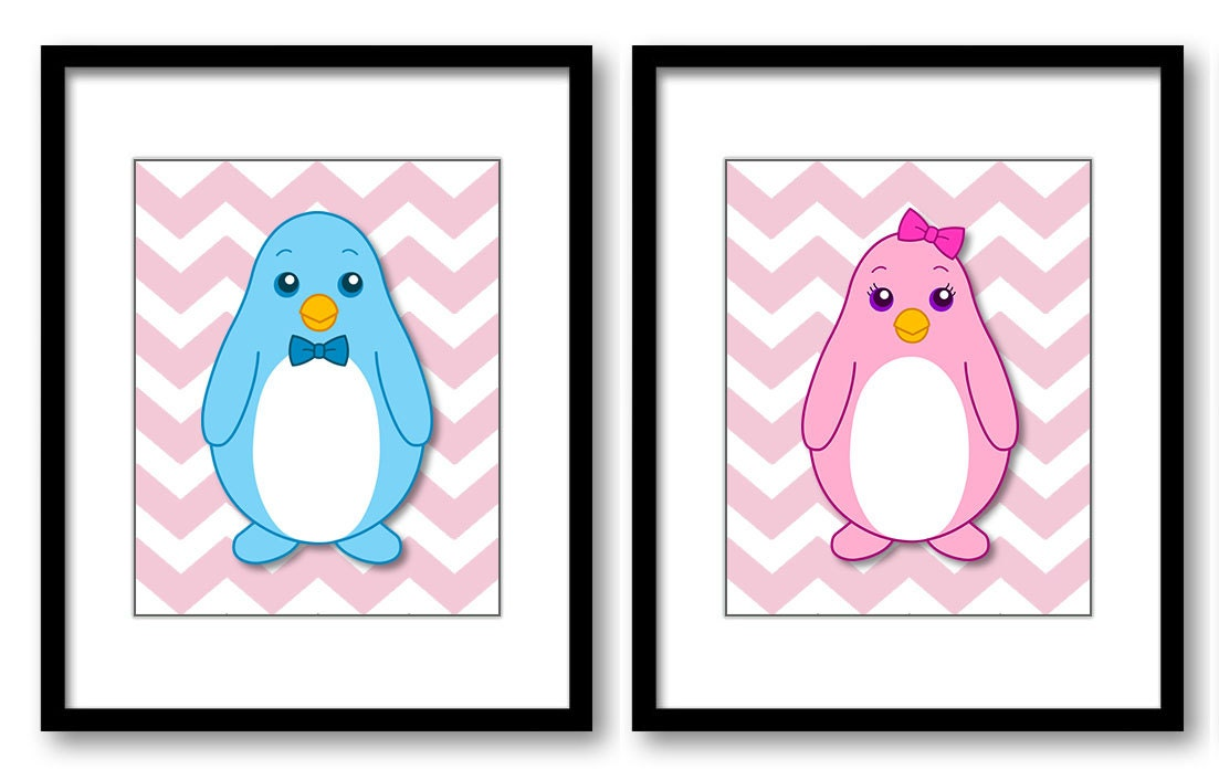 Cute Couple of Penguins Nursery Art Nursery Print Child Baby Art Pink Chevron Prints Set of 2 Kids R