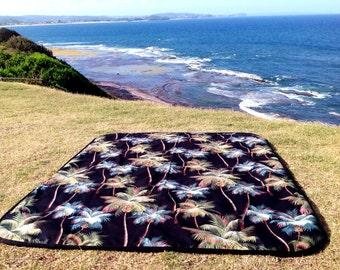 Picnic Rug Picnic Blanket Beach Blanket Hawaiian Palms Outdoor Blanket Retro Hawaiian Tropical Palms Design
