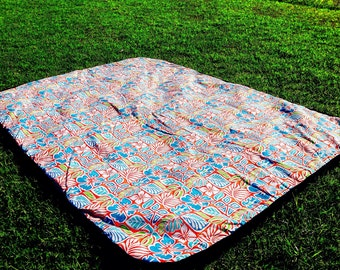 Picnic Blanket Picnic Rug ON SALE grab one for a Christmas Present. Hawaiian Vintage Style Outdoor Rug Tropical Design Red, Turquoise, Blue