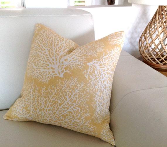 Yellow Beach Throw Pillows : Coastal Cushions Coastal Pillows Beach Decor Yellow Cushions