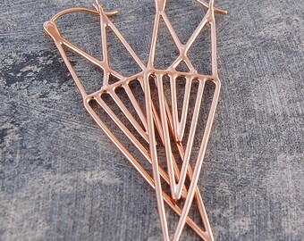 Boho Earrings, Rose Gold Dangle Earrings, Geometric Earrings, Long Drop Earrings, Statement Earrings, Unusual Earrings, Edgy Earrings