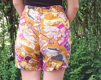 80s High-Waisted Hawaiian Print Shorts