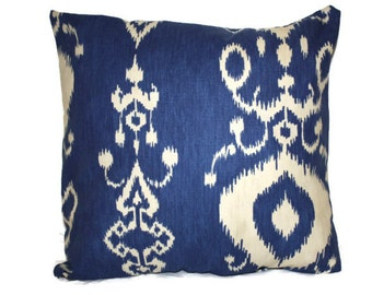 Blue and Cream Ikat Pillow Cover 16x16
