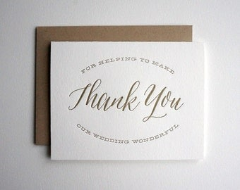 Wedding Party Thank You Card, Gold Letterpress Wedding Thank You Card, Groomsman Bridesmaid Thank You Card, Wedding Vendor Thank You Card