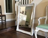 Beautiful LARGE WHITE MIRROR Shabby Chic Mirror Cottage Chic French Country White Framed Ornate Mirror