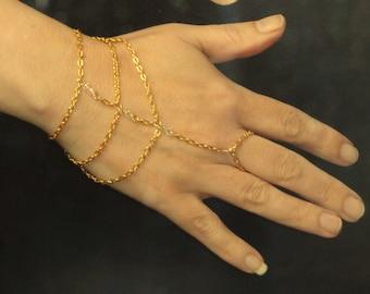 Gold crystal slave bracelet, Slave bracelet ring, Gold crystal hand bracelet, Gold slave bracelet, Slave bracelet UK, Hand jewelry, Gifts