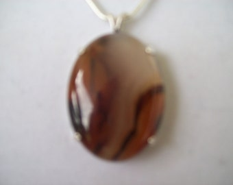 Flame Agate Pendant in Sterling Silver - 40x30mm