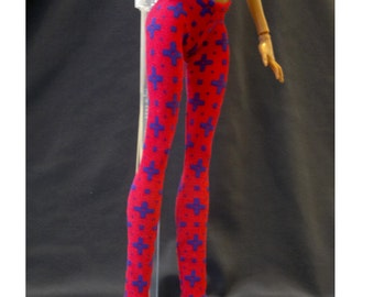 Dolls trousers/pants/clothes/outfit for Monster high doll-Hot pink+Cross No.707