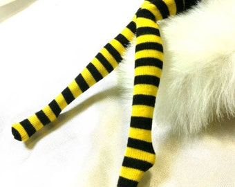 Dolls stockings/socks for Monster high doll -Black/yellow thick stripes No.713