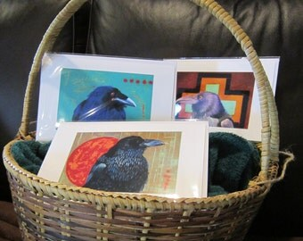 Raven Cards -  Set of 3 large cards with envelope - corvid, native american, spiritual, totem, handmade, bird