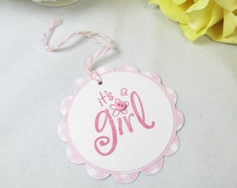 10 It's a Girl Thank You Tags - Girl Baby Shower Favor Tags - Baby Sprinkle Gift Tags - Tags for Shower Favors - Pink Baby Shower