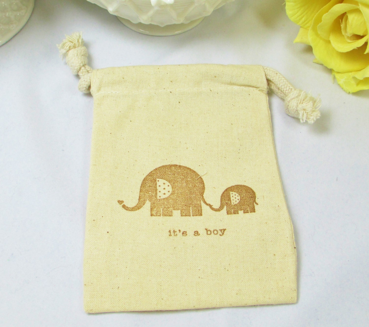 baby boy favor bags muslin boy baby shower favor elephant