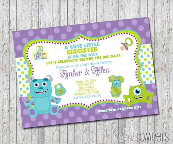 monsters inc inspired baby shower invitation 4x6 by rockinrompers