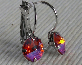 Swarovski crystal earrings, rhodium plated, hypoallergenic. Rivoli 1122, 8mm