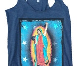 Crossfit Shirt. WODWomen's Racerback Tank Featuring Our Lady of the Kettlebells in Vintage Indigo