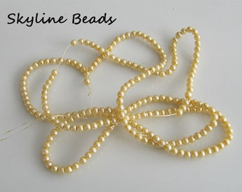 "Glass Pearl Beads, Pearlized Yellow, 3mm Round 26"" strand"