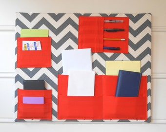 "Wall Pocket Organizer - 20"" x 16"" - Gray Chevron and Orange Fabrics"