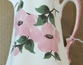 Flowered Pitcher Cash Family Pottery Vintage Hand Painted  Circa 1920's Tennessee
