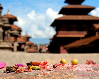 Photo print: Offerings in Kathmandu, Nepal. fine art photography. Photography