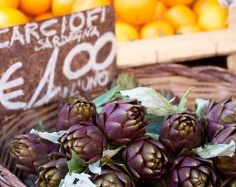 Photo print: Artichokes at Rome Market. Food photography. Rome Photography.