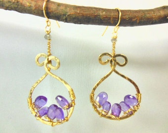 14 gold fill hoops with amethyst and labradorite