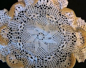 Decorated Doily with Beads Handmade