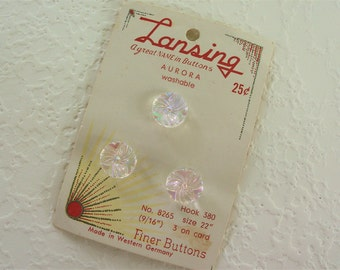 Vintage Aurora Borealis Clear Glass Buttons - Set of 3 on Card