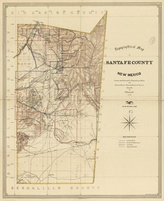 Santa Fe County New Mexico: Map Of Santa Fe County New Mexico 1883 By HistoricPerspectives