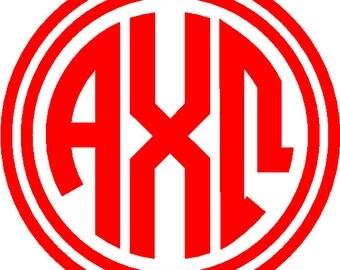 alpha chi omega sticker greek monogram letter 5 buy 2 get 1 free