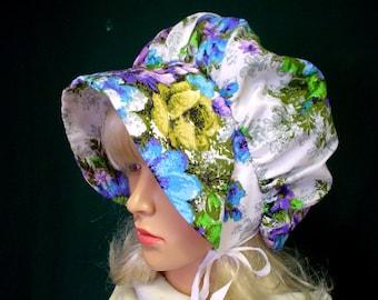 Girls Prairie Bonnet Pioneer Hat Purple Green Floral Print