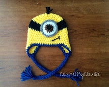 Crochet One Eyed Minion Inspired Beanie With Blue Trim/ Minion Beanie/ Made to Order