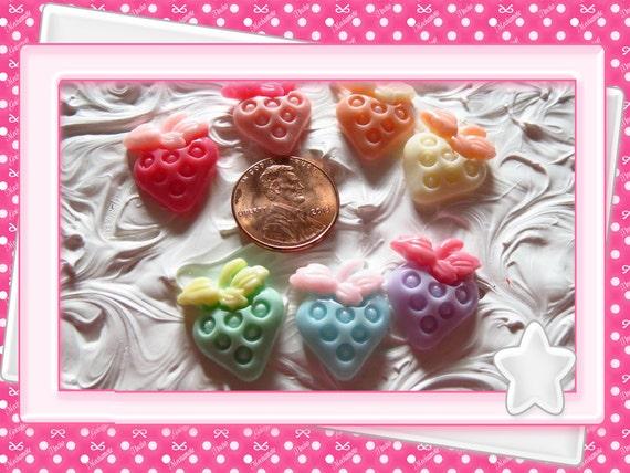 0: )- CABOCHON -( Rainbow Heart Strawberries