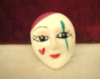 Vintage 1960's Drama Clown Face Brooch