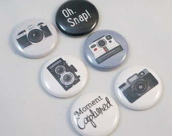 Set of 6 Vintage Camera Button Flair perfect for Scrapbooking and Project Life.