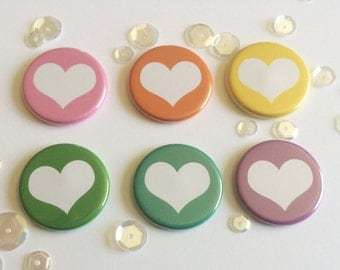 "1"" Heart button flair set of 6. Flat backed and flatter profile for Pocket pages / Scrapbooking."