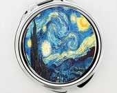 The Starry Night Vincent Van Gogh Artwork  Make-up Mirror,Fan Jewelry, Great Gift