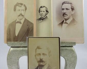 SALE! Antique Cabinet Photographs - Men in Massachusetts - 1800s - Sepia Photography - Set of 4
