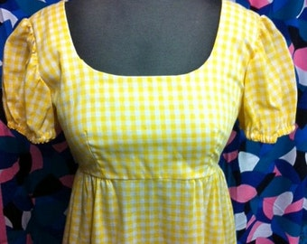 SALE 1970's Yellow Gingham Maxi Dress
