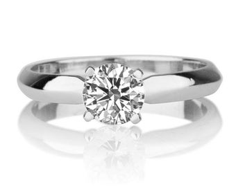Classic Diamond Engagement Ring, Solitaire Ring, 14K White Gold Ring, 0.70 CT Diamond Ring Band, Diamond Solitaire Ring