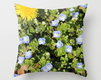 Spring Flowers, Pillow Cover, 16x16,18x18,20x20, home decoration, flower, green,blue,yellow, floral, spring, country living, interior design