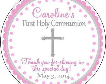 Pink with Silver Cross First Holy Communion, Baptism, Dedication Thank You Labels, Stickers Party Favors Gift tags