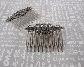 50pcs Antique Bronze Metal Hair Combs (10 teeth) 65 x48mm HA44