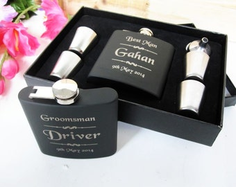 Will You Be My Groomsman? Will You Be My Bridesmaid?  Will You Be My Best Man Maid of Honor?  Set of 1 Personalized Black Wedding Flask