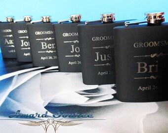 14 Groomsmen Flask Set ~With Free Engraving~ 6 oz Black Stainless Steel Flask