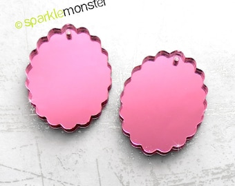 Small Scalloped Oval Cameo - 2 pcs, 18x25 mm, pink mirror, charm, laser cut acrylic