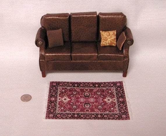 Traditional Sofa Throw Pillows : SALE priced. Traditional brown leather sofa & 3