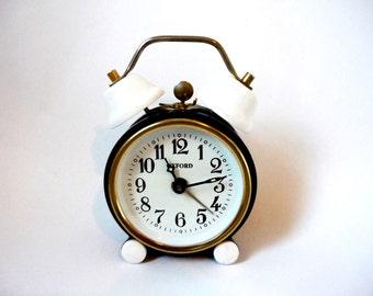 Black and white Oxford small alarm clock non working condition