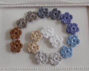 16 mini crochet flowers applique CH-033-02