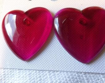 VINTAGE Earrings HEART earrings Lucite Earrings Pink Heart Earrings 1.25 inch Pierced Earrings